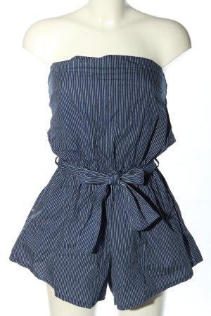 Faithfull Kurzer Jumpsuit blu-bianco Cotone