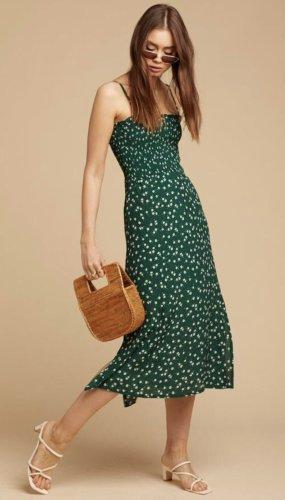 Faithfull The Brand Midi Kleid French Street Style Blogger 100% Viskose Waldgrün