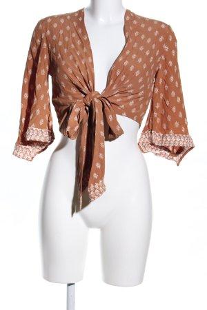 Faithfull Camicetta aderente marrone-bianco sporco stampa integrale stile casual