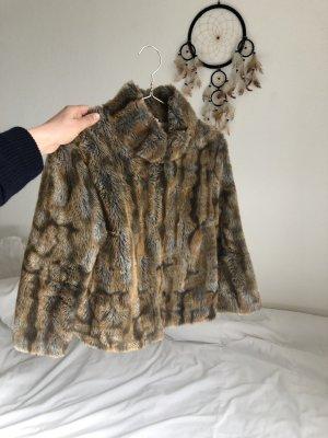 Fake Fur Fell Jacke Pelz braun Kunst fell  kurz hip glamour grau