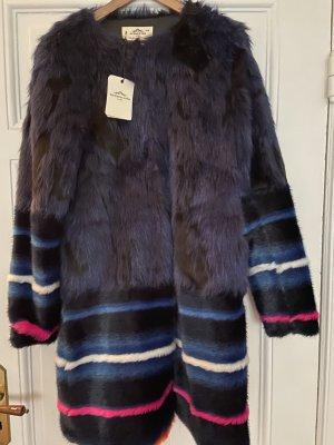 Fake Fur Fell Mantel Urbancode Blau pink animal Streifen neu Blogger ASOS