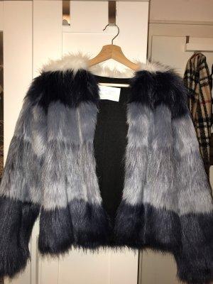 Zara Veste en fausse fourrure bleu foncé-violet foncé fourrure artificielle