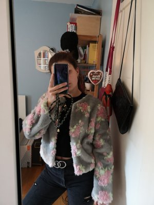 Veste de fourrure gris clair-rose