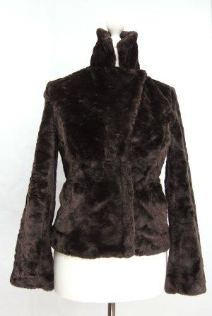 Futrzana kurtka ciemnobrązowy-czarno-brązowy
