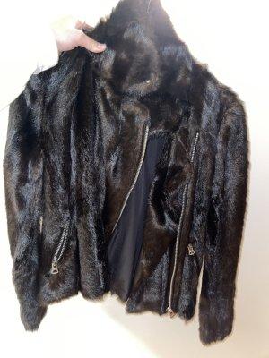 Zara Trafaluc Futrzana kurtka czarno-brązowy
