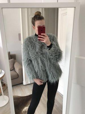 Fake Fur Jacke in Türkis