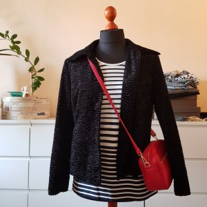 Fake Fur Jacke schwarz Granny-Style