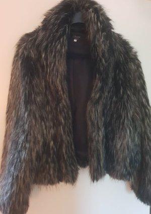 Fake Fur Jacke schwarz/grau/silber von Dresses for Yessica, Größe XL