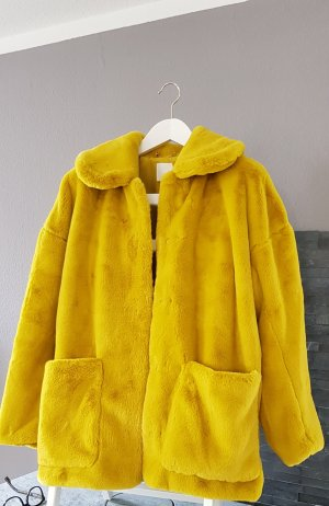 H&M Giacca in eco pelliccia giallo lime