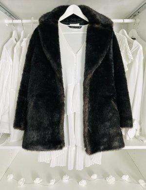 H&M Jas van imitatiebont donkerbruin-zwart bruin