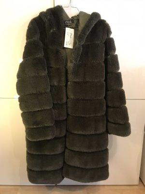 Fake Fur Mantel grün Tanne 36 NEU
