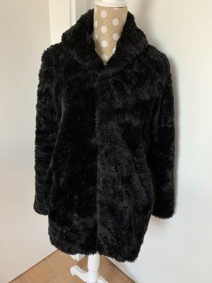Fake Fur Mantel schwarz