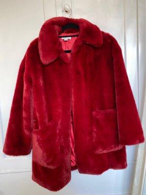 Topshop Abrigo de piel sintética rojo oscuro
