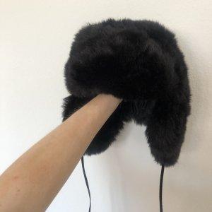 H&M Cappello in pelliccia nero