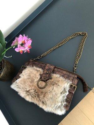 Fake Fur Tasche Braun / Beige  mit Kette
