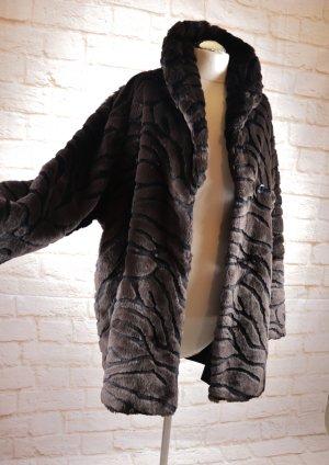 Fake Fur Two Face Mantel Plüsch Wendemantel Größe XL 44 46 Braun Schwarz Dunkelbraun Muster Schalkragen Wintermantel