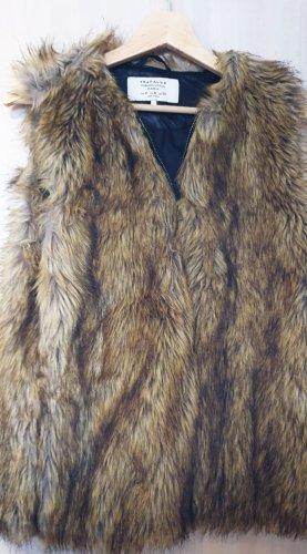 Trafaluc by Zara Fake Fur Vest taupe-grey brown