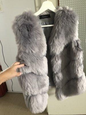 Fake Fur Vest silver-colored