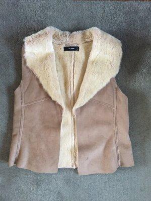 Hallhuber Fur vest oatmeal-beige fake fur