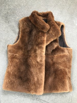 Chaleco de piel sintética marrón-marrón oscuro