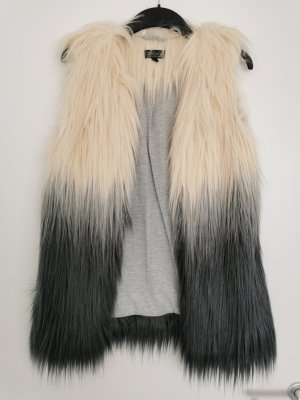Fake Fur Weste in Cremeweiß/Grau