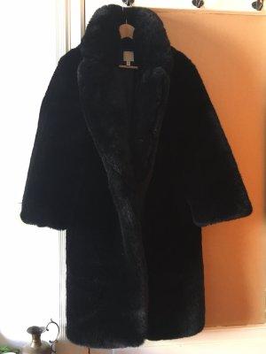 H&M Płaszcz ze sztucznym futrem czarny