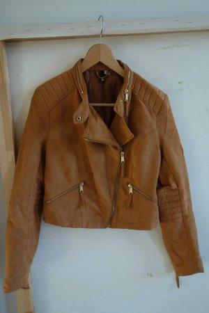 H&M Biker Jacket russet-gold-colored polyester