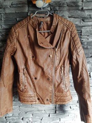 2 Elles Faux Leather Jacket cognac-coloured