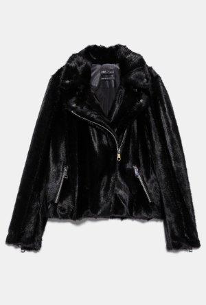 Zara Woman Giacca da motociclista marrone-nero-marrone scuro