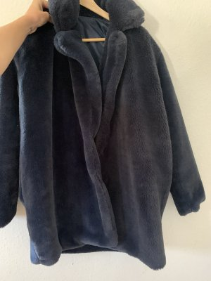 Płaszcz ze sztucznym futrem ciemnoniebieski