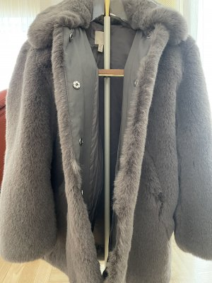 H&M Płaszcz ze sztucznym futrem szary