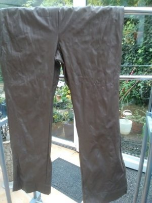 Manou Lenz Pantalón de cuero marrón grisáceo Poliéster