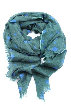 Faliero sarti Wełniany szalik zielony-niebieski Wzór w kropki W stylu casual