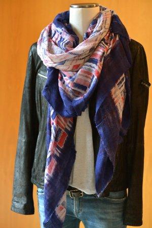 FALIERO SARTI XL Tuch Schal Modal neu Etikett Blau Rot Unisex