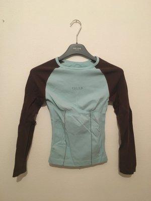 Falke Funktionswäsche Shirt Langarm Unterziehshirt Sport atmungsaktiv braun dunkelbraun hellblau figurbetont elastisch m Medium