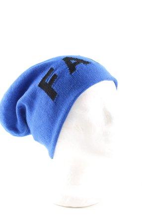 Falke Cappello a maglia blu-nero caratteri stampati stile casual