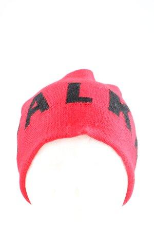 Falke Sombrero de punto rosa-negro letras impresas look casual