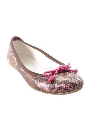 faltbare Ballerinas pink-braun Farbtupfermuster extravaganter Stil