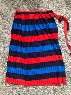 Blue Vintage Wraparound Skirt brick red-blue