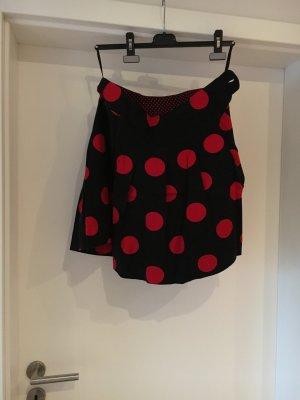 H&M Jupe à plis noir-rouge coton
