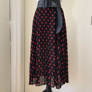 Alexander McQueen Pleated Skirt black-brick red polyester