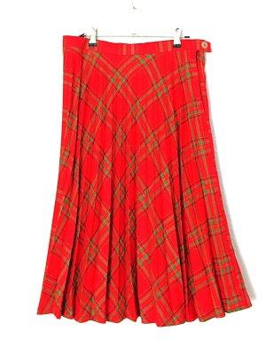 Vintage Falda a cuadros rojo-verde Lana