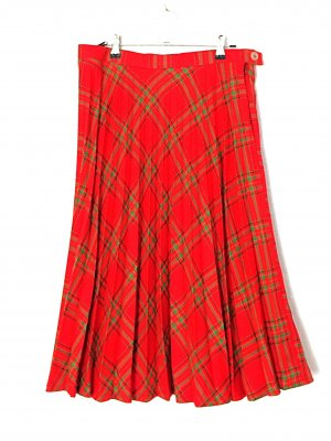 Faltenrock Kilt Vintage rot und grün Gr S