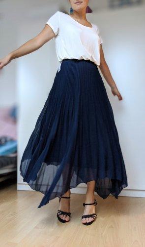Massimo Dutti Plisowana spódnica ciemnoniebieski