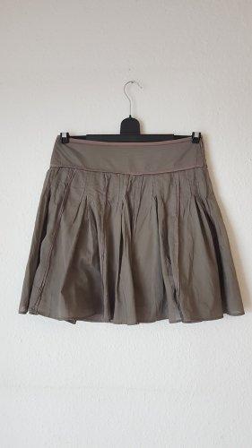 Promod Jupe à plis gris-taupe coton