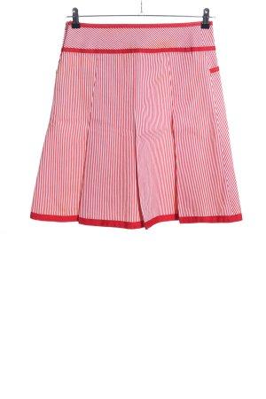 Faltenrock rot-weiß Streifenmuster Casual-Look