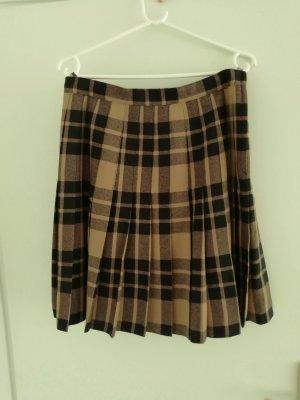 Madeleine Plaid Skirt black-camel new wool