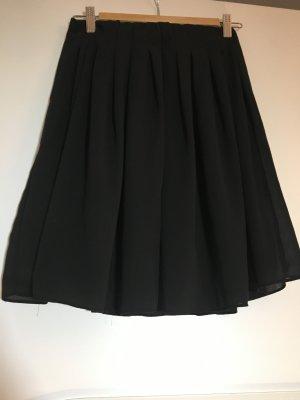 Faltenrock zweilagig Minirock schwarz