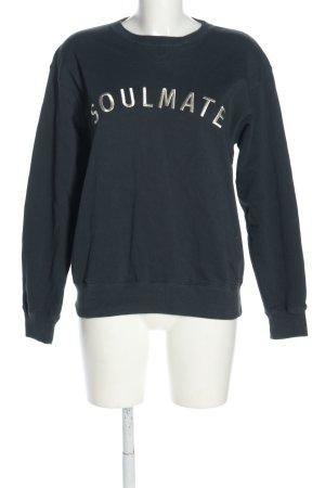 fam vibes Sweatshirt blauw-lichtgrijs geborduurde letters casual uitstraling