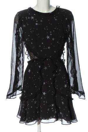 Fame and Partners Robe découpée noir imprimé avec thème style festif